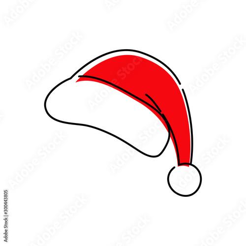 Carta da parati  Icono plano lineal gorro Papá Noel con color rojo