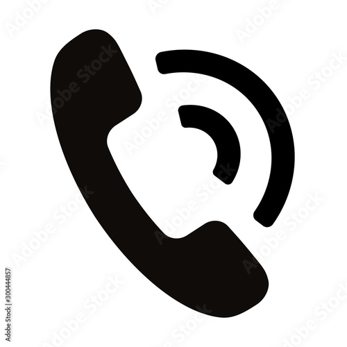 Obraz Simple black telephone call symbol isolated on white background - fototapety do salonu