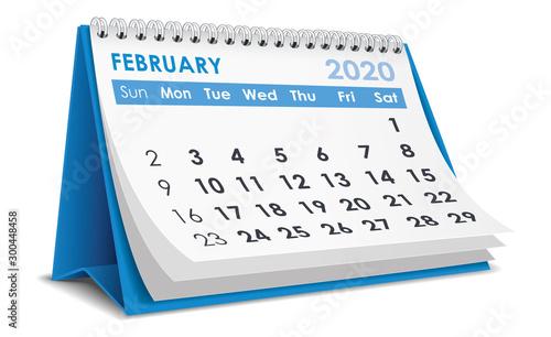 February 2020 Calendar Wallpaper Mural