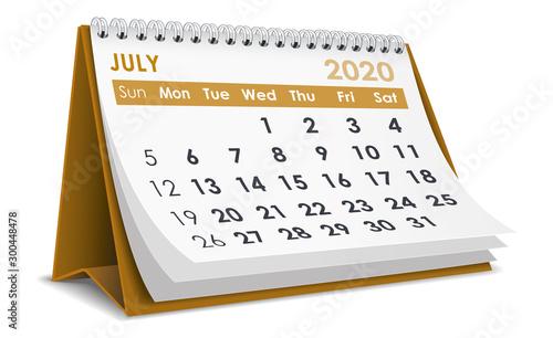 Obraz July 2020 Calendar - fototapety do salonu