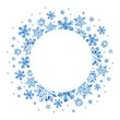 canvas print picture - Congratulatory New Year and Christmas frame. Blue snowflakes on a white background. Hand-drawn winter watercolor pattern. Empty place for your text.