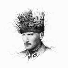 Mustafa Kemal Ataturk Collage Illustration, President Of Turkey,Leader,Drawing