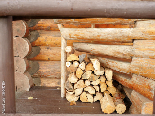 Fototapeta Raw firewood logs stacked for winter Under a wooden stair
