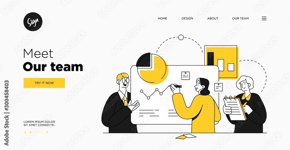 Fototapety, obrazy: Presentation slide template or landing page website design. Business concept illustrations. Modern flat outline style. Teamwork concept