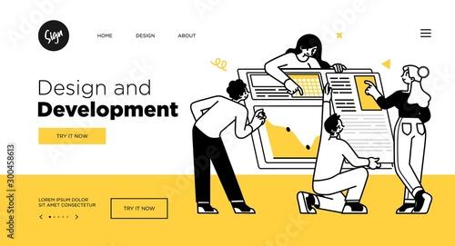 Obraz Presentation slide template or landing page website design. Business concept illustrations. Modern flat outline style. Design And Development - fototapety do salonu