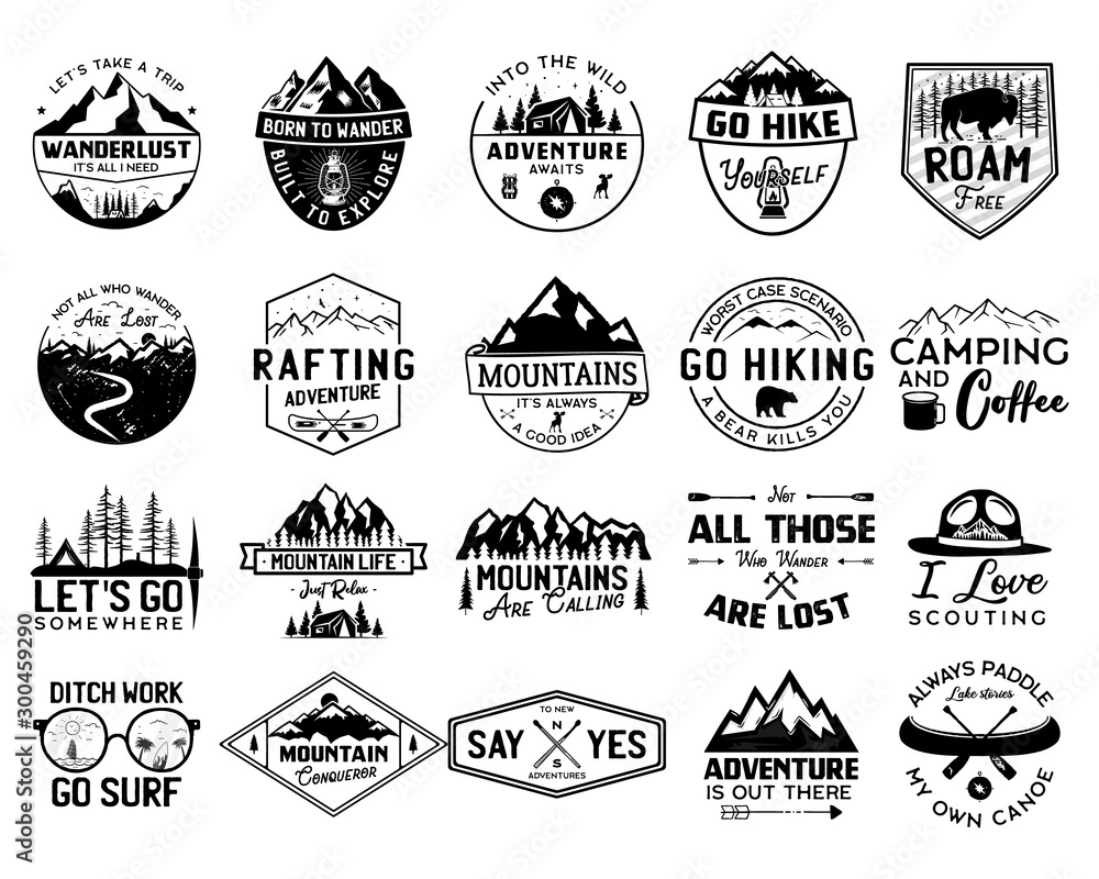 Fototapety, obrazy: Vintage camp logo bundle, mountain badges set. Hand drawn labels designs. Travel expedition, canoe, wanderlust and hiking. Outdoor emblems. Logotypes collection. Stock vector isolated on white