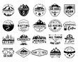 Vintage camp logo bundle, mountain badges set. Hand drawn labels designs. Travel expedition, canoe, wanderlust and hiking. Outdoor emblems. Logotypes collection. Stock vector isolated on white