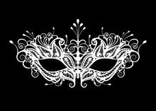 Carnival Mask Icon White Silho...