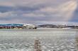 View of the frozen city pond from the waterfront. Nizhny Tagil Sverdlovsk Region Russia.