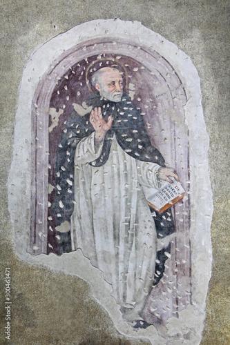 San Tommaso d'Aquino; affresco nella chiesa dell'abbazia cistercense di Santa Ma Canvas Print