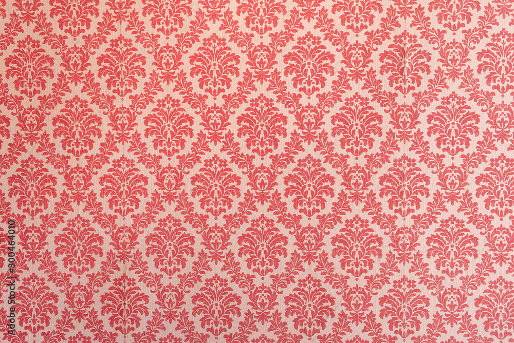 Fototapety, obrazy: Red wallpaper vintage flock with red damask design on a white background retro vintage style