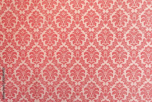Fototapeta Red wallpaper vintage flock with red damask design on a white background retro vintage style obraz