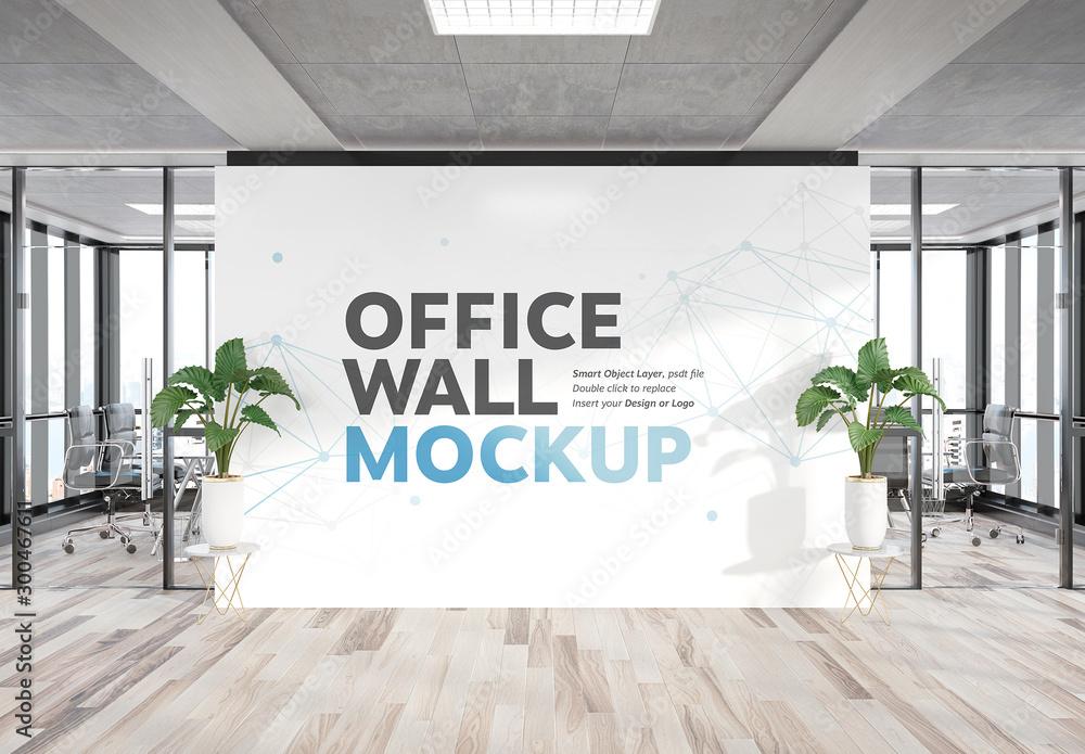 Fototapeta Billboard Wall in Office Mockup