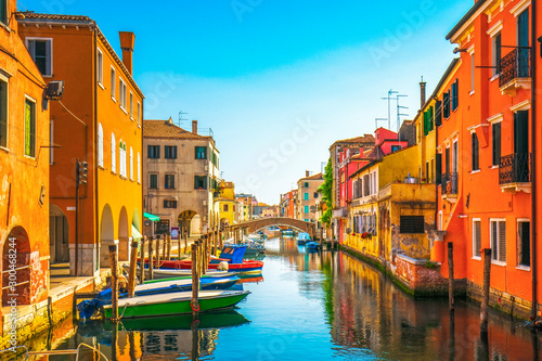 Fototapeta Chioggia town in venetian lagoon, water canal and church. Veneto, Italy obraz