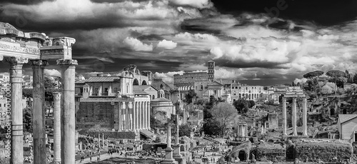 View of the Roman Forum ancient monuments and Coliseum from Capitoline Hill in Rome (Black and White)