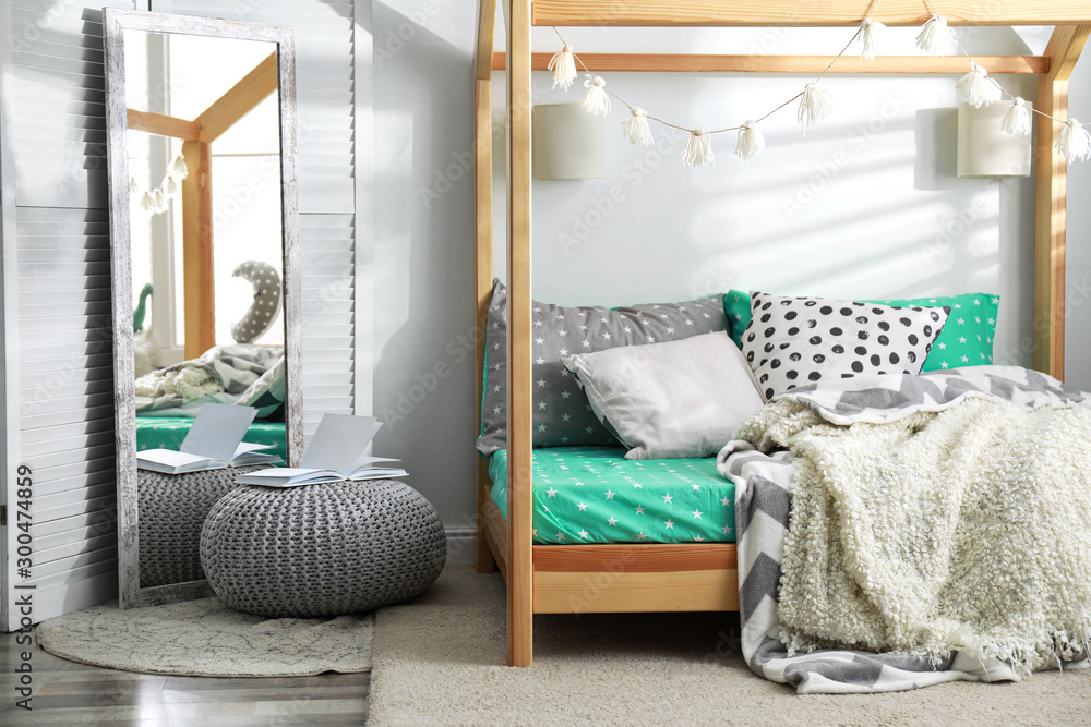 Fototapety, obrazy: Cozy child room interior with comfortable bed