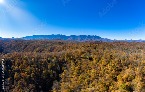 aerial panorama view of 9 images of western north carolina mountains during the Fall