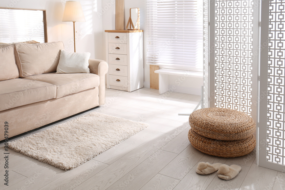 Fototapety, obrazy: Stylish room interior with white folding screen and sofa