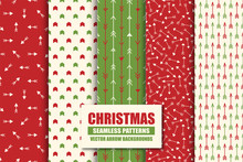 Set Of Colorful Seamless Geometric Arrow Patterns - Xmas Design. Christmas Vector Bright Ret Backgrounds - Vint Style. Creative Trendy Endless Textures For Wrapping Paper, Covers, Wallpapers And Etc