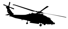 Helicopter Vector Silhouette, Black Isolated On White