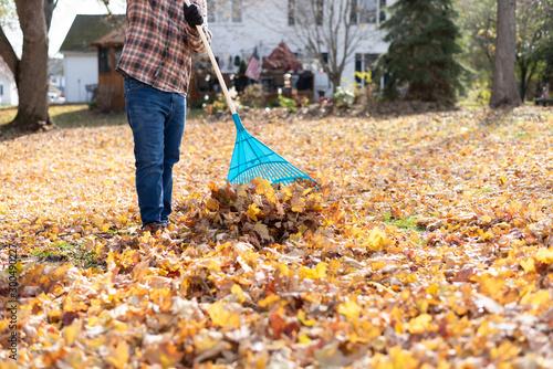 Fotografía Fall clean up in the backyard - man raking leaves