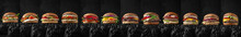 Superset Of Delicious Juicy Beef Burgers, Cheeseburgers, Fishburgers Made From Aged Beef Cutlets, Seafood, Sauces. For Posters, Promotions, Menus. Free Space For Text.