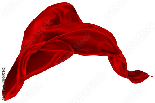 Poster Tissu Abstract background of red wavy silk or satin. 3d rendering image.