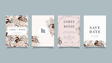 Luxury Wedding Invitation Set,  Invite Thank You, Rsvp Modern Card Design In Golden And White Rose With Leaf Greenery Branches  Decorative Vector Elegant Rustic Template