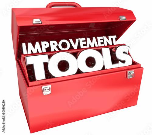 Fotografija Improvement Tools Continuous Self Help Toolbox Words 3d Illustration