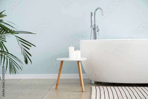 Modern bathtub of stylish interior Canvas