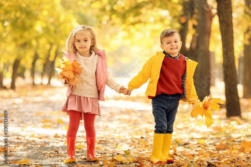 Pinturas sobre lienzo  Cute little children with leaves in park on autumn day