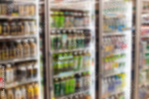Blur abstract background of japanese small supermarket combini