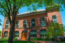 Medfield Town Hall On Main Street At The Town Center Of Medfield In Boston Metro West Area, Massachusetts, USA.