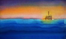Watercolor Seascape Of Ocean W...