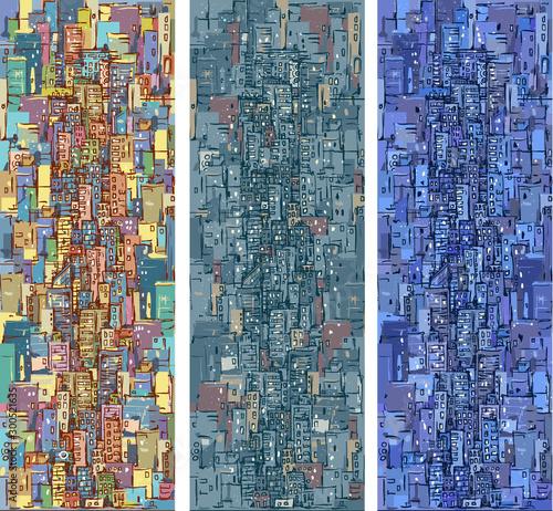 Fototapeta Illustration with architecture, skyscrapers, megapolis, buildings, downtown. obraz
