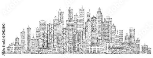 Fototapeta Modern City skyline, highly detailed hand drawn vector illustration obraz