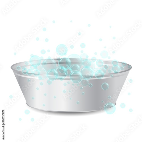 Fotomural  vector realistic metal bowl or basin for washing with soap bubbles isolated on white background
