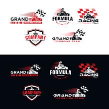 Set Of Karting Race Symbol Logo Emblem Template Vector Image . Go Kart Logo Vector . Kart Driver Sport Logo Icon.Man Drive Kart In Helmet Background Design