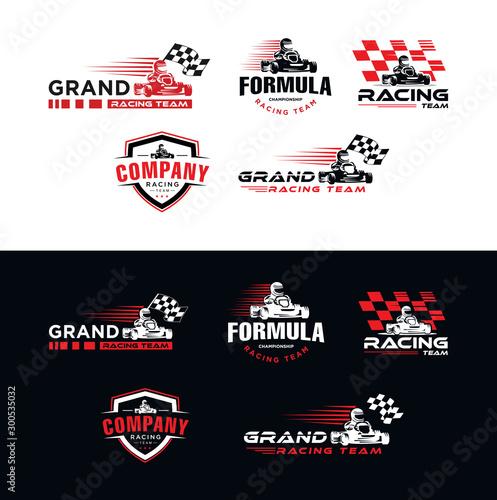 Canvas Print Set of Karting race symbol logo emblem template vector image