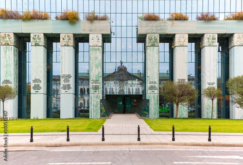 Stampa su Tela Modern building of Supreme Court of Poland, Columns of Law with sentences, Warsa