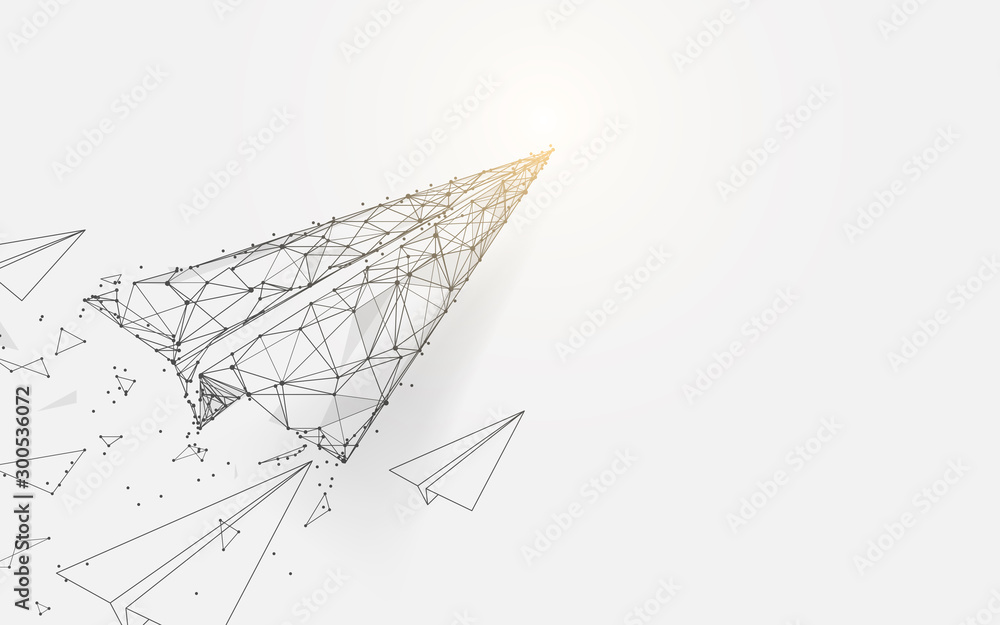 Fototapeta Paper airplanes flying from lines, triangles and particle style design. Illustration vector