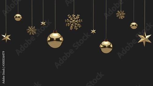 Pinturas sobre lienzo  Shimmering golden snowflakes, christmas balls and stars on black background