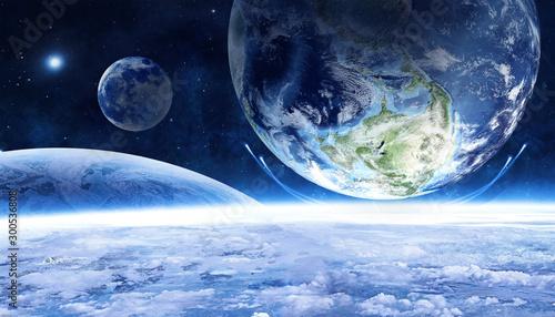 Obraz science fiction cosmic planet background - fototapety do salonu