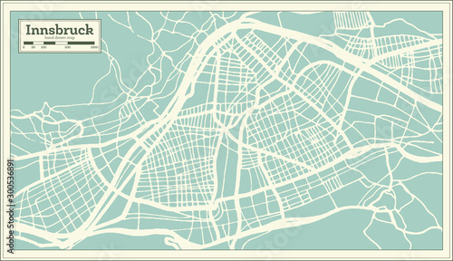Fototapeta Innsbruck Austria City Map in Retro Style. Outline Map.