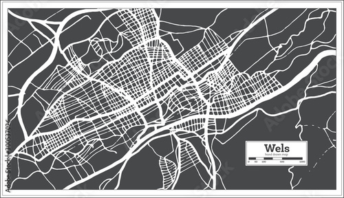 Fotomural  Wels Austria City Map in Retro Style. Outline Map.