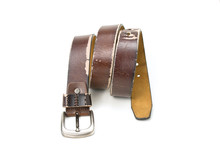Old Brown Leather Belt On A Wh...