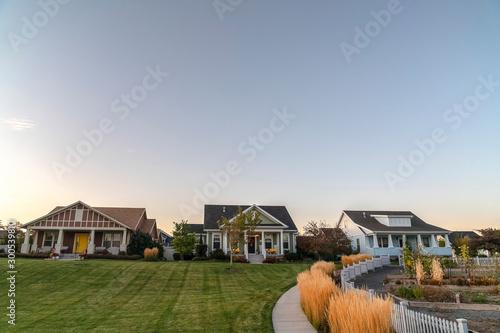Obraz na plátne  Modern housing estate with neat green lawns