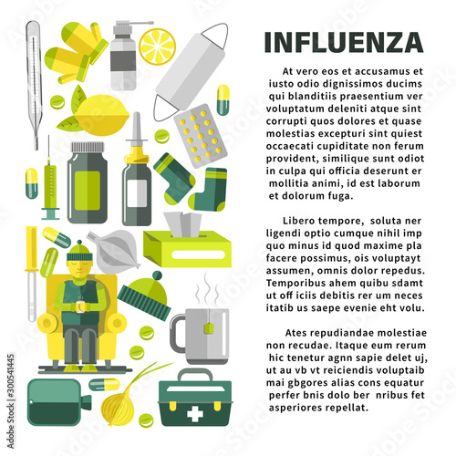 Influenza with cold and flu treatment remedies banner template Wallpaper Mural