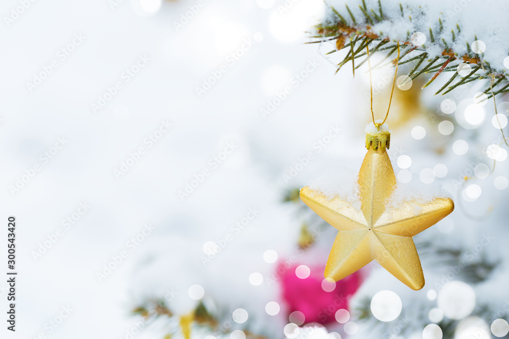 Fototapety, obrazy: Christmas tree in snow background. New Year composition with fir tree, balls and lights and bokeh.