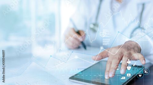 Fotografía Healthcare business graph data and growth, Medical examination and doctor analyzing medical report network connection on tablet screen